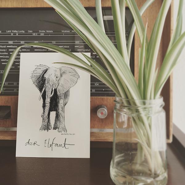 Elefant Karte Wolfgang Philippi