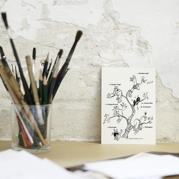 Lustige Vögel Karte Wolfgang Philippi